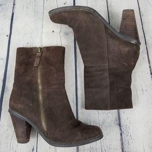 LUXURY REBEL | Pandora stacked heel side zip boots